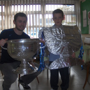 Eoin dressed as Sam Maguire
