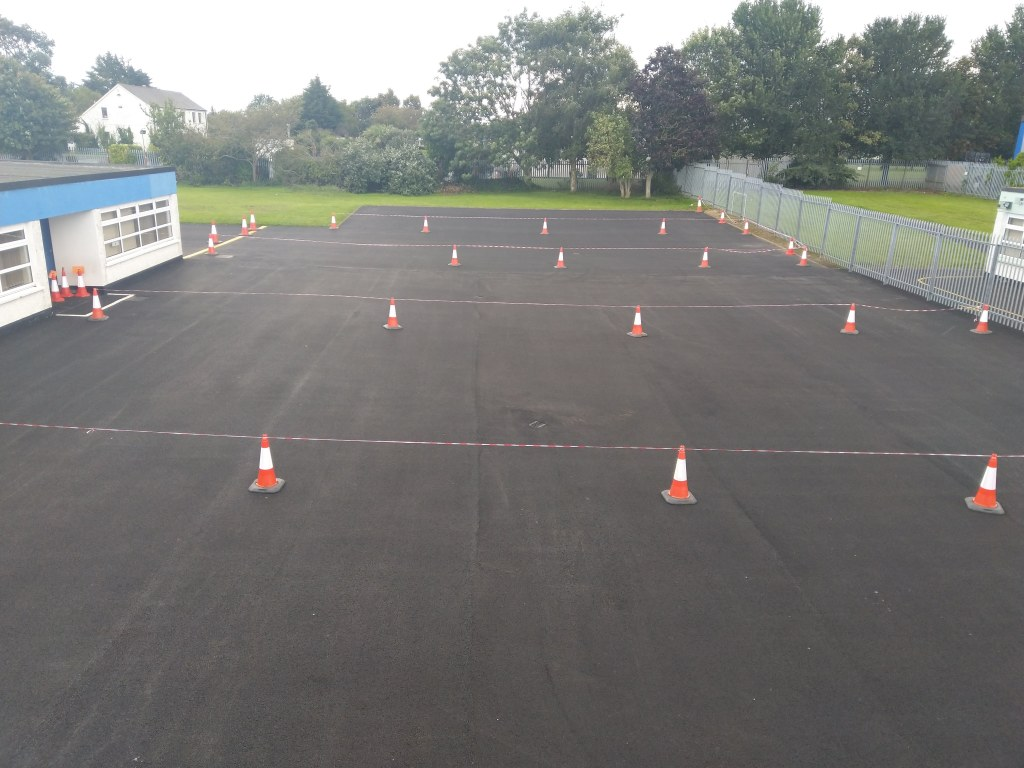 Our fabulous new yard with our cones for playtime